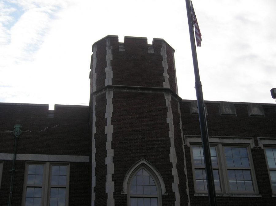 A tower-like spire on the M.A.C. lab side of the building.