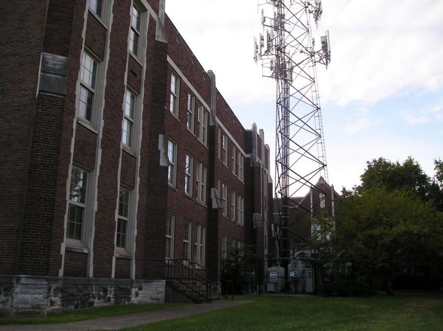 Street side of the building with the old radio tower.