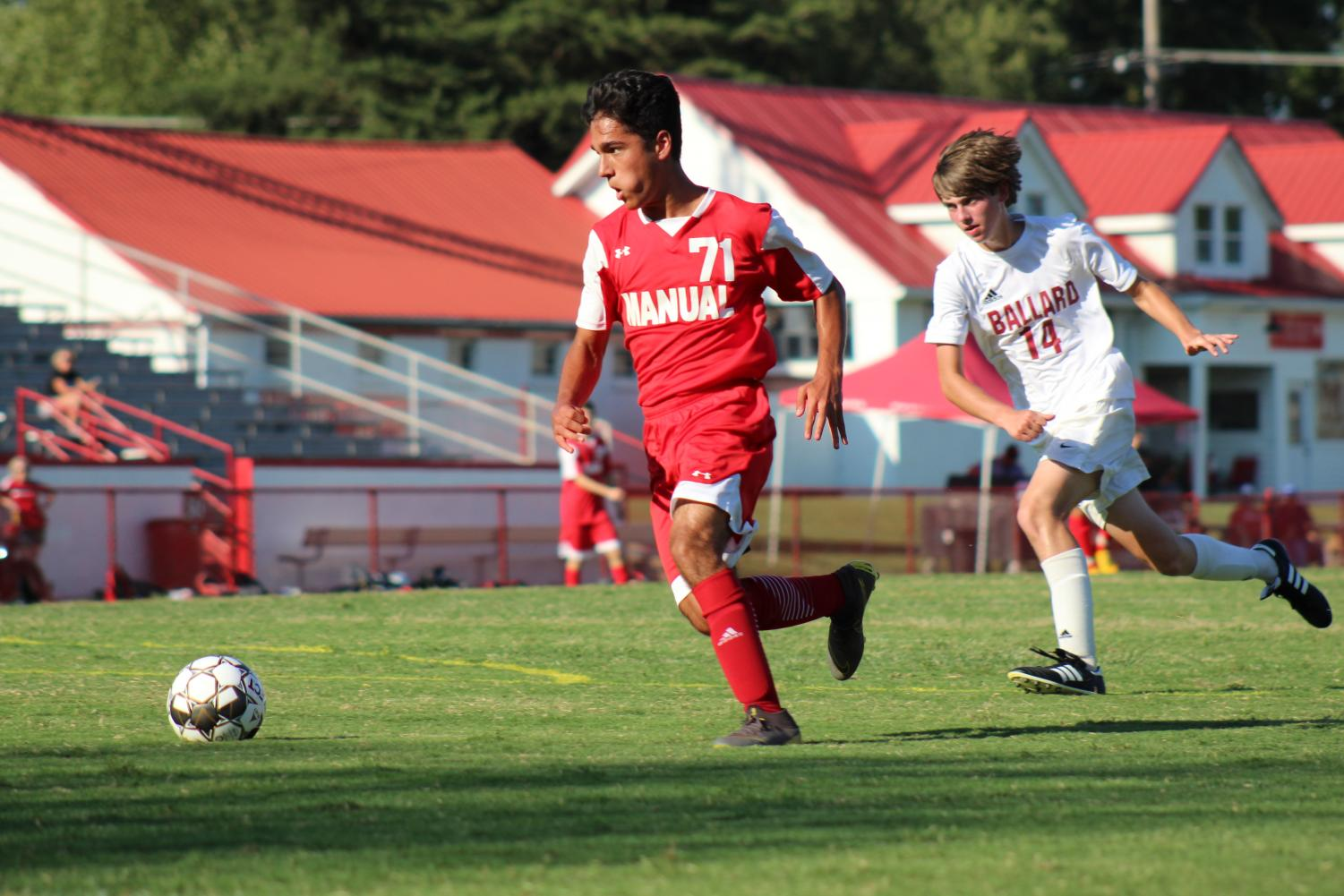 Iman Dashti (10, MST) prepares to shoot after beating a Ballard defender. Photo by Molly Gregory.