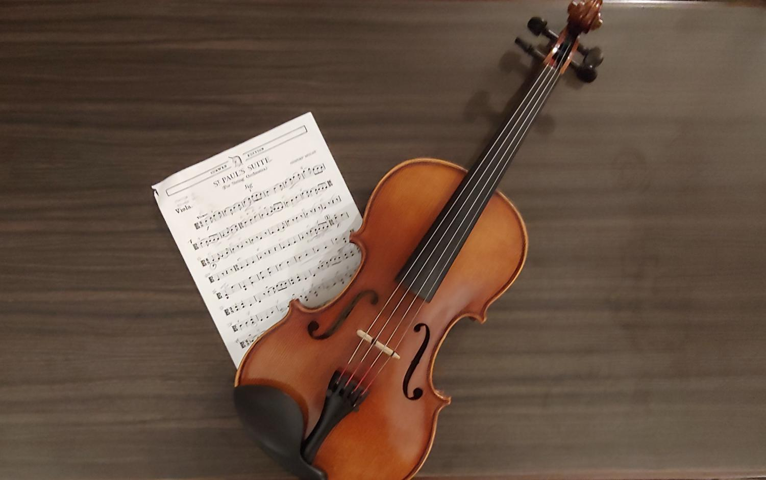 Practice Makes Perfect. The viola and music shown belong to Elijah Reed (11, YPAS) and will both be used for the big night. Photo by Evie Reed.