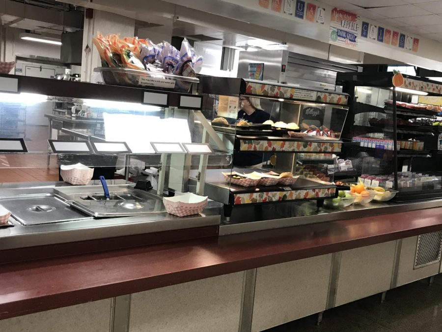 Manual's cafeteria line before students come in for lunch. Image by Wisal El Majbri