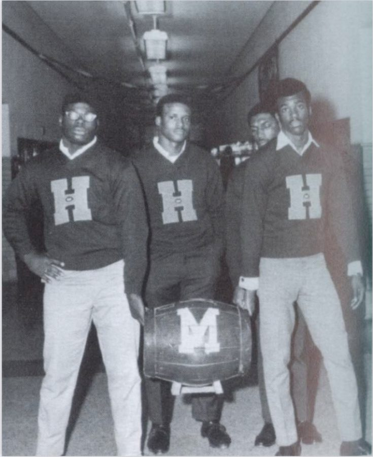Louisville Male High School's captains bring the barrel back to Manual in 1969. Photo courtesy of