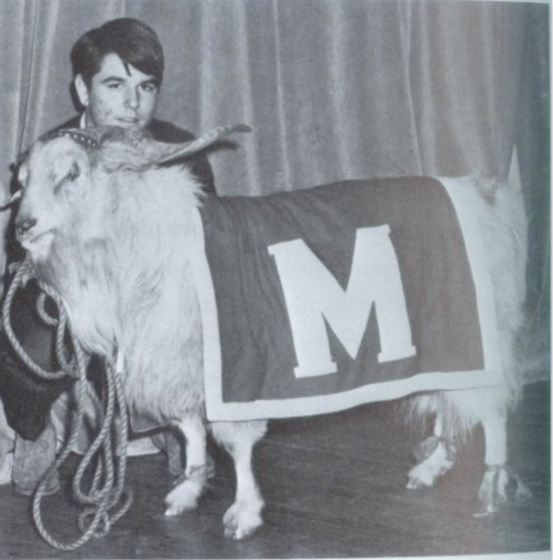 A student poses with the ram mascot on Red/White day in 1966. Photo by