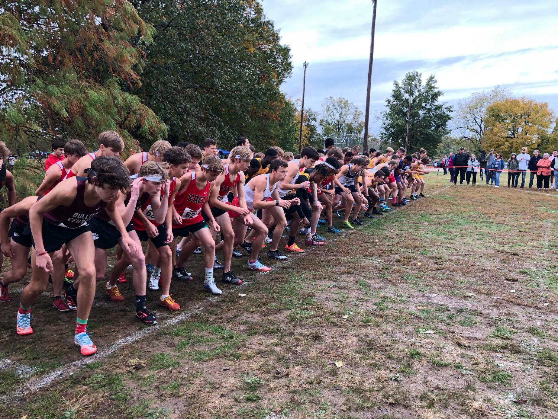 The varsity boys region three class AAA teams line up for their race. Photo by Zayne Isom.
