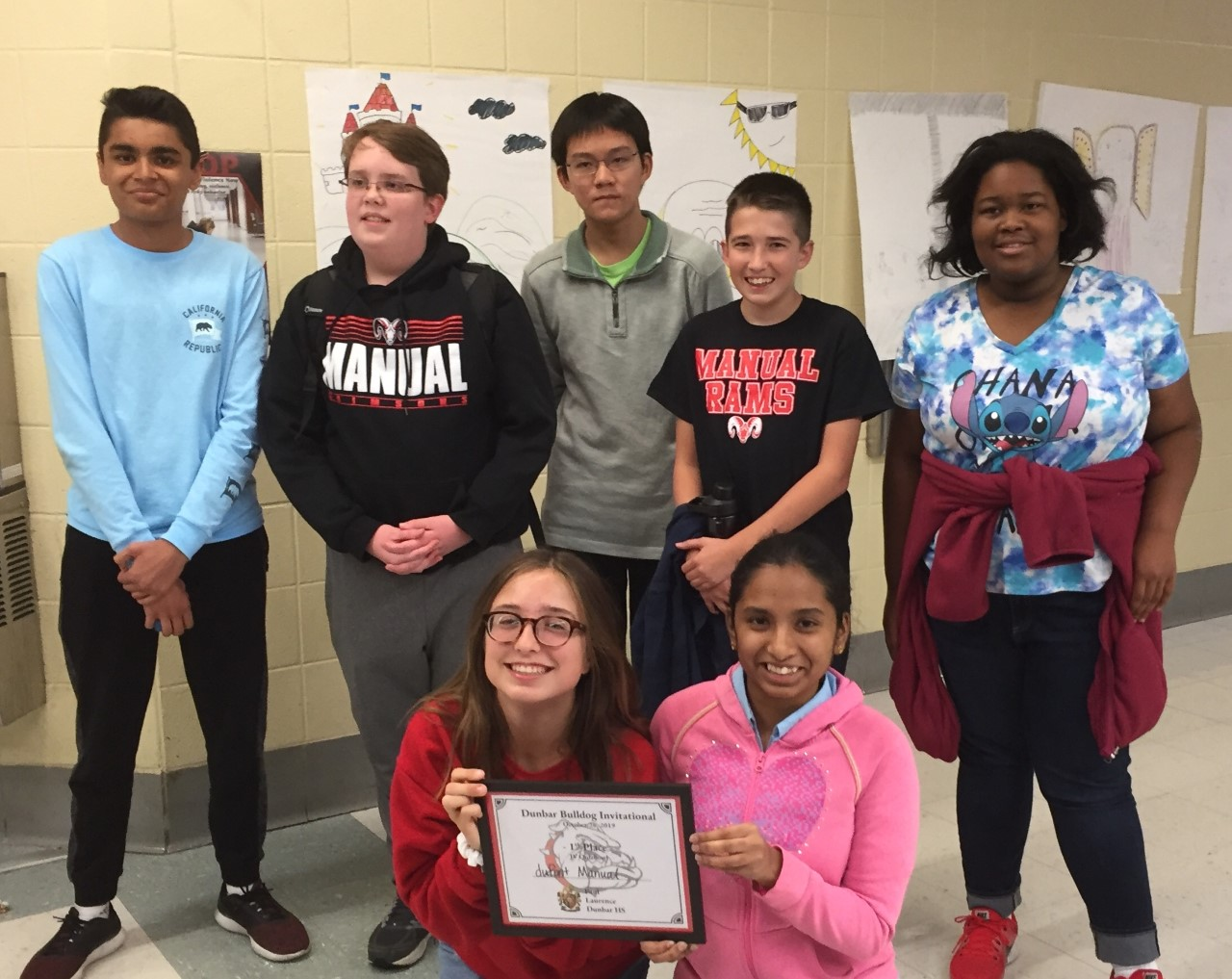 Manual's JV quiz bowl team, all MST 9th graders. Pictured: front row, left to right: Lauren Jones, Swetha Senthilnathan. Back row, left to right: Salil Kothari, Christopher Jones, Luke Mo, Dylan Kissling, Jovanna Okyere. Photo by Alexis Rich.