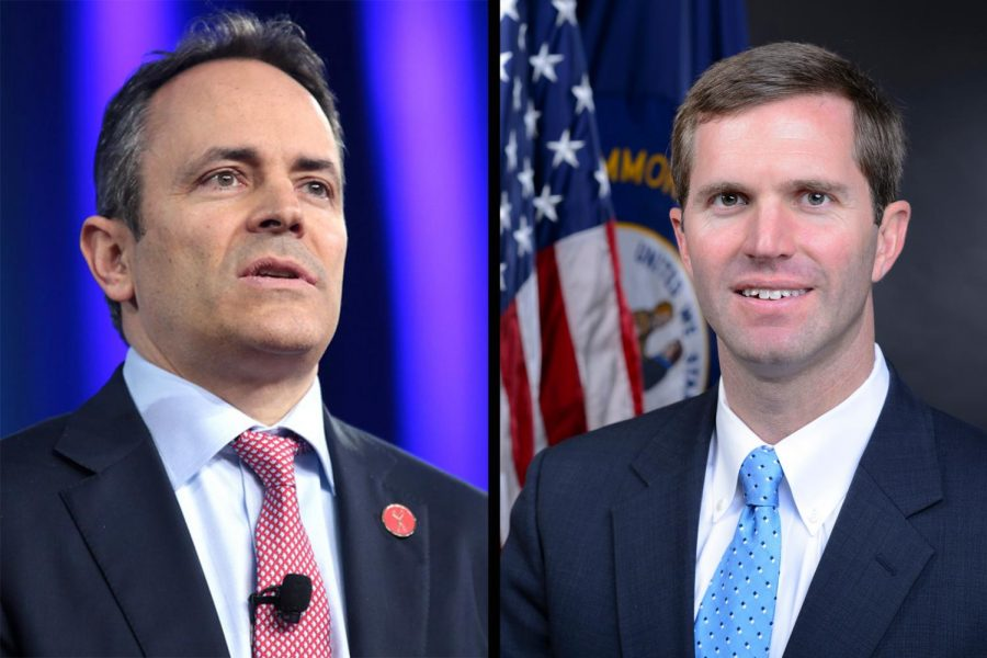 Governor Matt Bevin (left) and Attorney General Andy Beshear. Images licensed by Wikimedia Commons and the Office of the Attorney General of Kentucky.