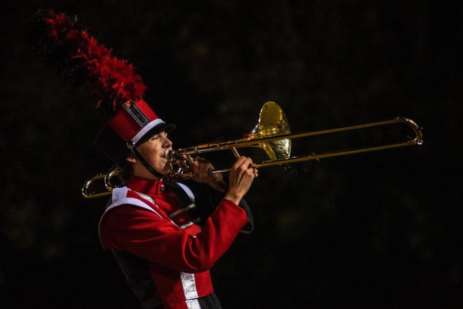 The marching band begins their performance during halftime. Photo by Cesca Campisano