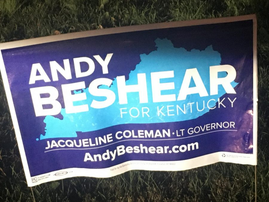 A campaign yard sign for Andy Beshear, tentative winner of the 2019 Kentucky Gubernatorial race, and son of former governor, Steve Beshear. Photo by Justin Farris.
