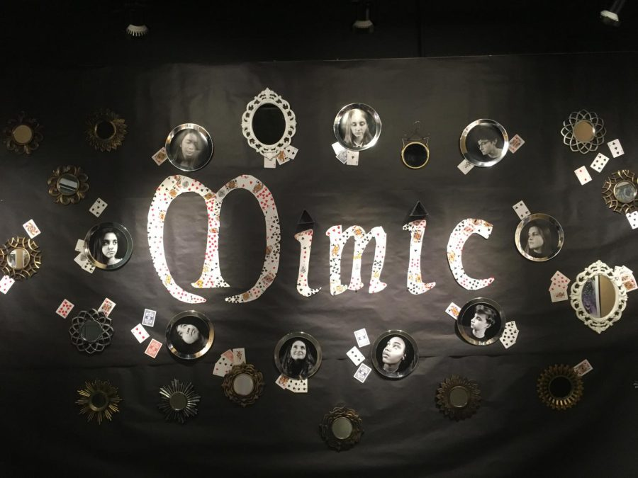 The decorated wall to represent the theme of the gallery, Mimic, which is based around