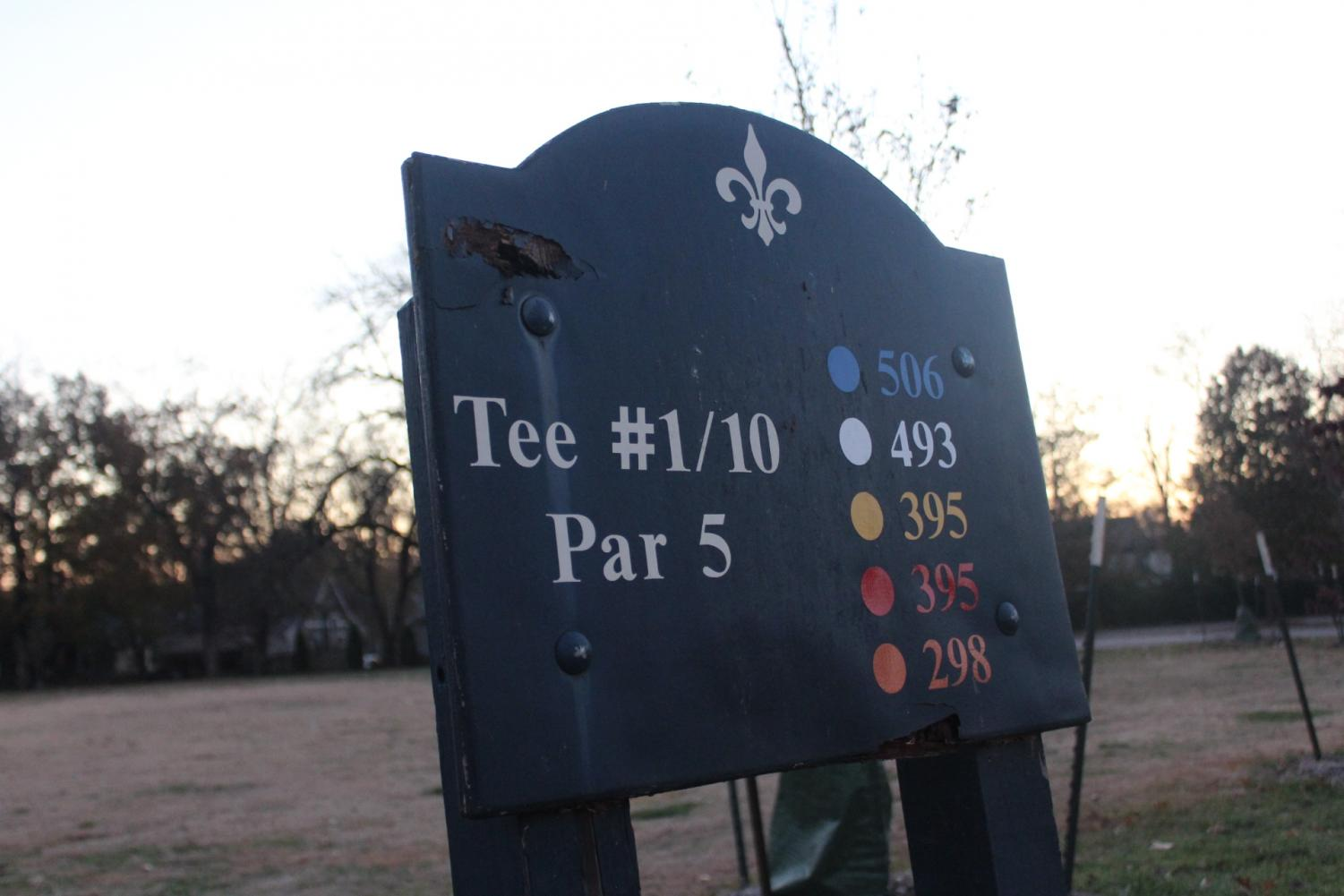 Tee #1 on Crescent Hill Golf Course's Par 5 course. Crescent Hill Golf Course was one of the six courses Mayor Fischer announced he was considering closing in April of 2019. Photo by Norah Wulkopf