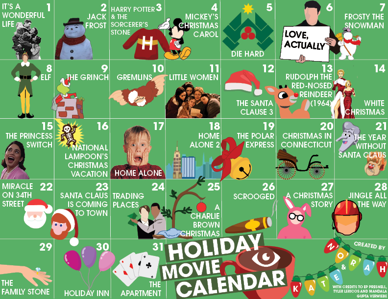 Each day this month, we suggest watching the movie we have listed. You'll certainly be in the Christmas spirit by the end!