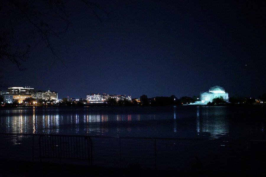 The view of DC's skyline from the Martin Luther King Memorial, taken during a moonlight bus tour of the city. Photo by Isaac Barnett