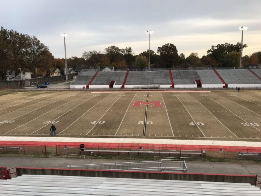 Manual's field before a football game at Manual Stadium earlier this year. Photo courtesy of @ManualAthletics on Twitter.
