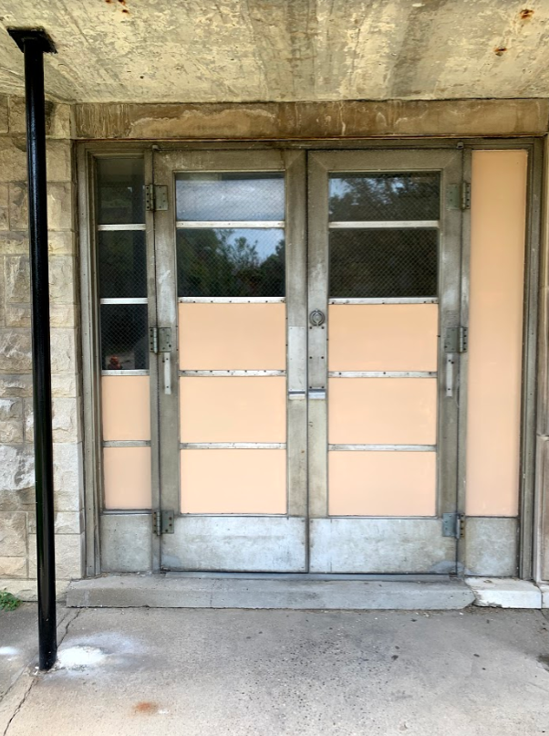 "On Aug. 21, Jordyn Coyle (10) saw this door unlocked on the 2nd street entrance. She was on her way back from Cardinal Towne to go to her yearbook meeting. ""Being able to get back into the building through the side door seemed very dangerous, since anyone could've gone through it just as easily as we did and that's not really safe,"" Coyle said."