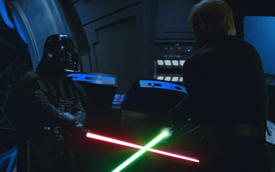 Scene where Luke and Darth Vader have their final duel in the Emperor's throne room.