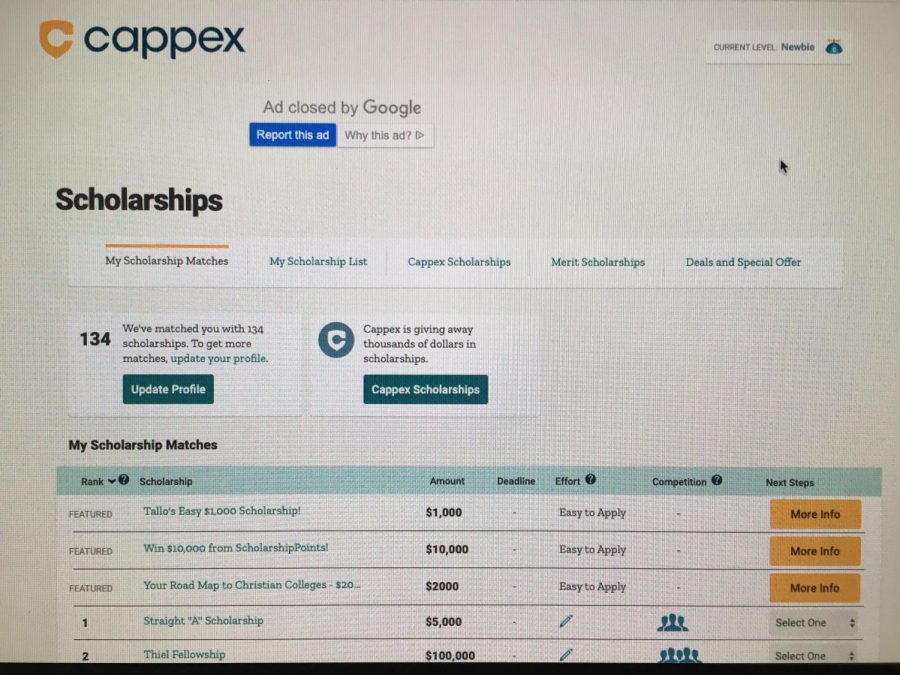Scholarship+finder+page+of+the+online+scholarship+and+college+finder%2C+Cappex.+