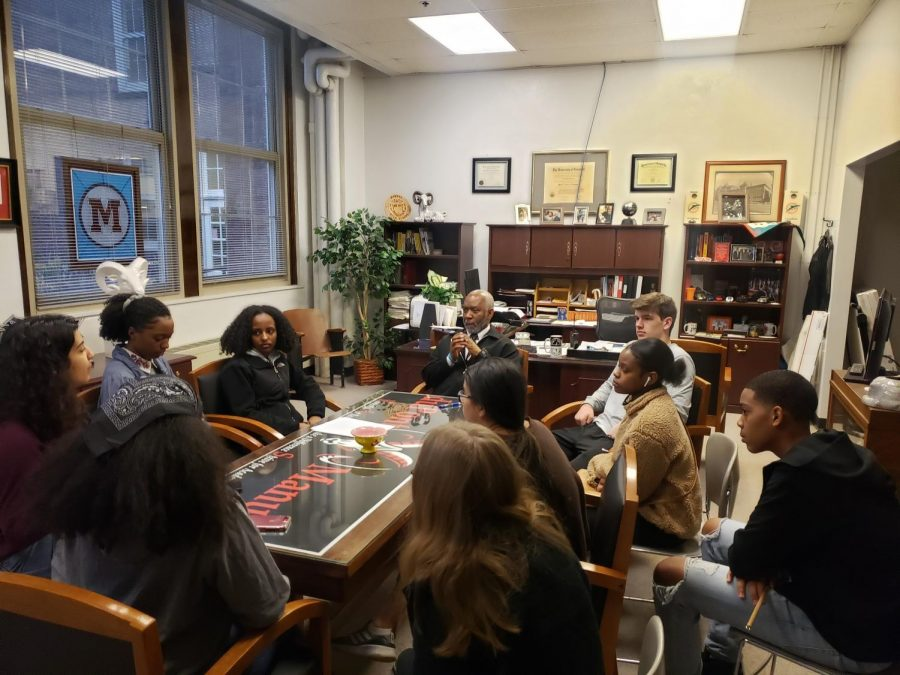 Mr. Farmer meets with students on Tuesday to discuss how Manual can improve the dress code. Photo courtesy of Ms. Boggs.