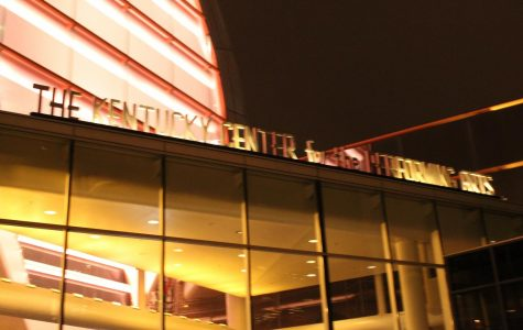The Kentucky Center is lit up on the night of the performance. Photo by Molly Gregory.