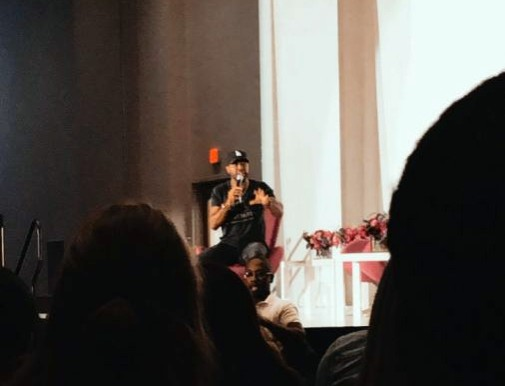 Karamo Brown addresses an audience at the University of Louisville. Photo by Zayne Isom.