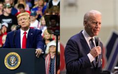 Left: President Donald Trump addresses the crowd at Target Center in Minneapolis, MN, for his 2020 presidential campaign rally on October 10, 2019. Photo by Nikolas Liepins. Right: Democratic Presidential Candidate, Former Vice President Joe Biden speaks at a rally in Norfolk, Virginia at Booker T. Washington High School. Photo by Carter Marks.
