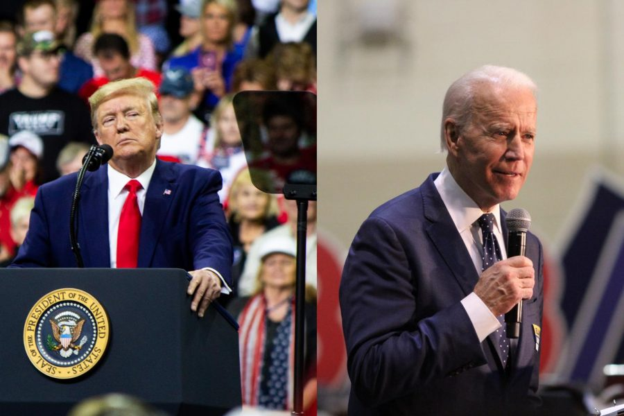 Left%3A+President+Donald+Trump+addresses+the+crowd+at+Target+Center+in+Minneapolis%2C+MN%2C+for+his+2020+presidential+campaign+rally+on+October+10%2C+2019.+Photo+by+Nikolas+Liepins.+Right%3A+Democratic+Presidential+Candidate%2C+Former+Vice+President+Joe+Biden+speaks+at+a+rally+in+Norfolk%2C+Virginia+at+Booker+T.+Washington+High+School.+Photo+by+Carter+Marks.