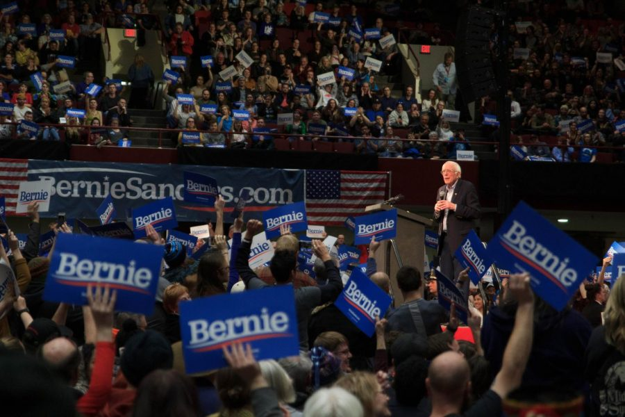 Sen. Bernie Sanders (D-VT) holds a rally hours before Super Tuesday at the Rivercentre in St. Paul, MN, on March 2, 2020. Photo taken by Nikolas Liepins. This photo is licensed under CC BY-NC 2.0 and was not modified.