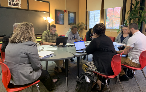 At the SBDM meeting, teachers and administrators review policies and discuss updates for Manual and YPAS. Photo by Reece Gunther.