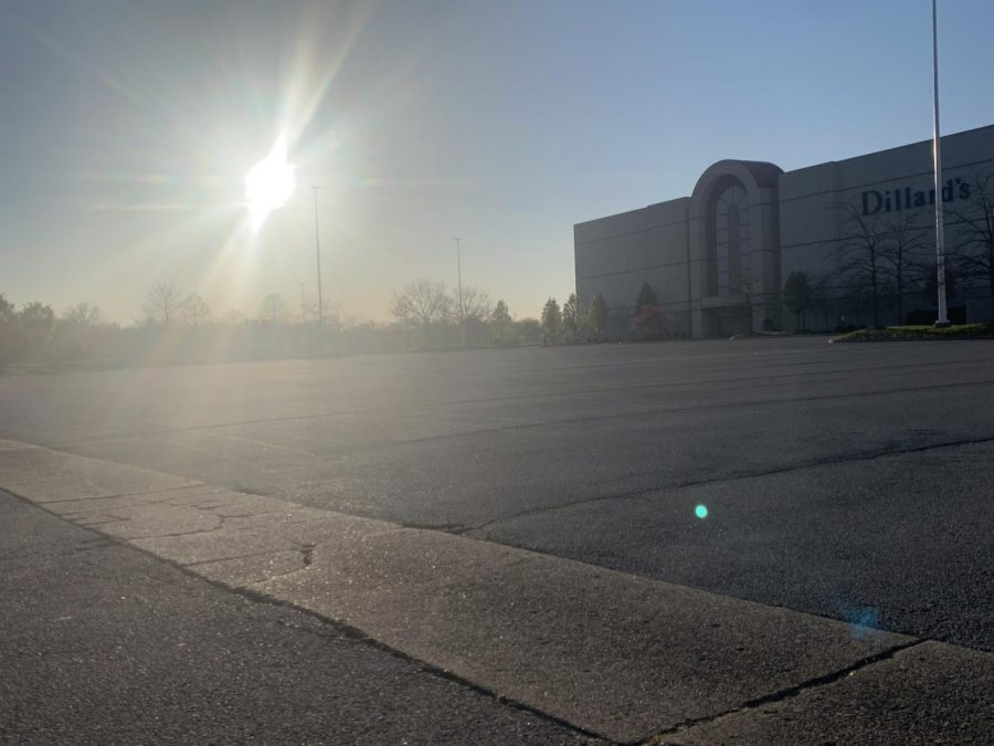 The parking lot at Dillard's at the St. Matthews mall is empty. Photo by KC Ciresi.