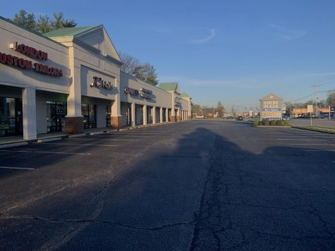 Locke Plaza in St. Matthews, which includes salons, tailors and stores, is empty as people stay home and businesses close due to the coronavirus. Photo by KC Ciresi.