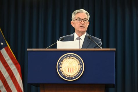 FOMC Chair Powell answers a reporter