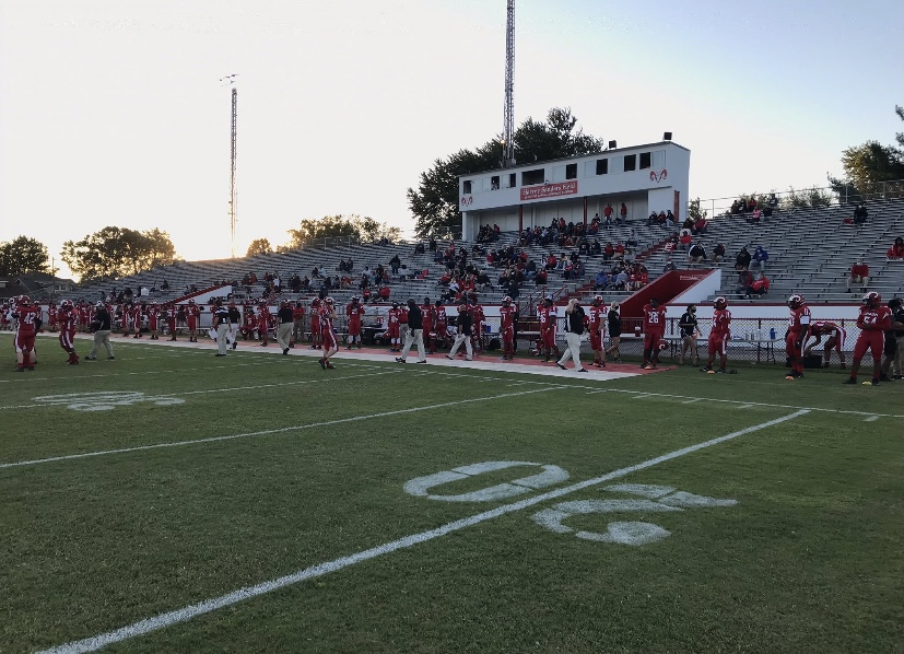 Prior to the start of the football team's game against LaSalle Friday.