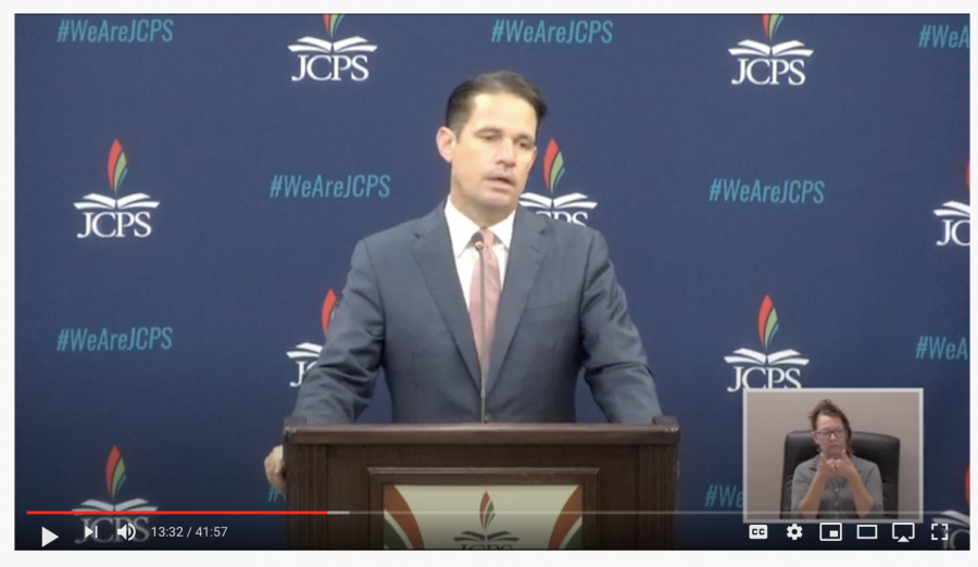 Dr. Marty Pollio explains how he plans for students to return to in-person school. Screenshot from the live conference from EP Presnell.