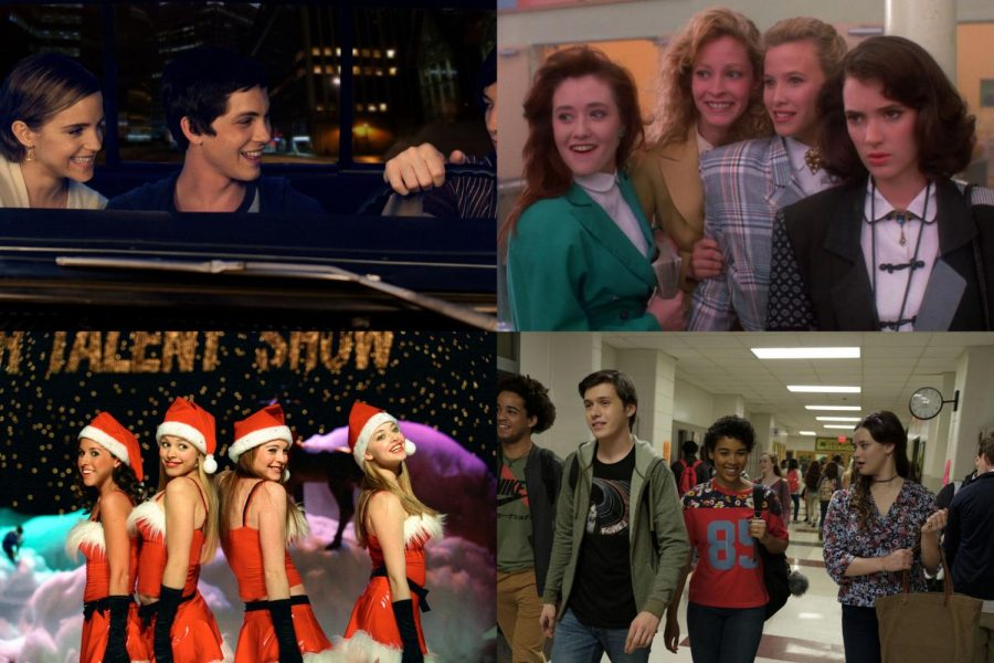 The Perks of Being a Wallflower (top left), Heathers (top right), Mean Girls (bottom left),and Love, Simon (bottom right)