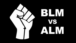 Image Description: Black Lives Matter Fist next to text that says BLM vs ALM.