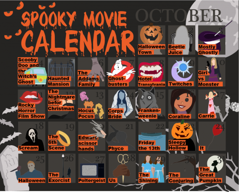 October spooky movie calendar