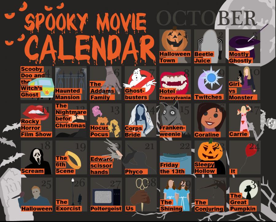 October spooky movie calendar