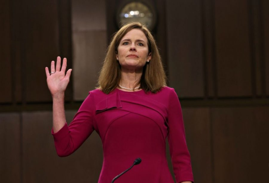 Amy Coney Barrett taking oath of office.