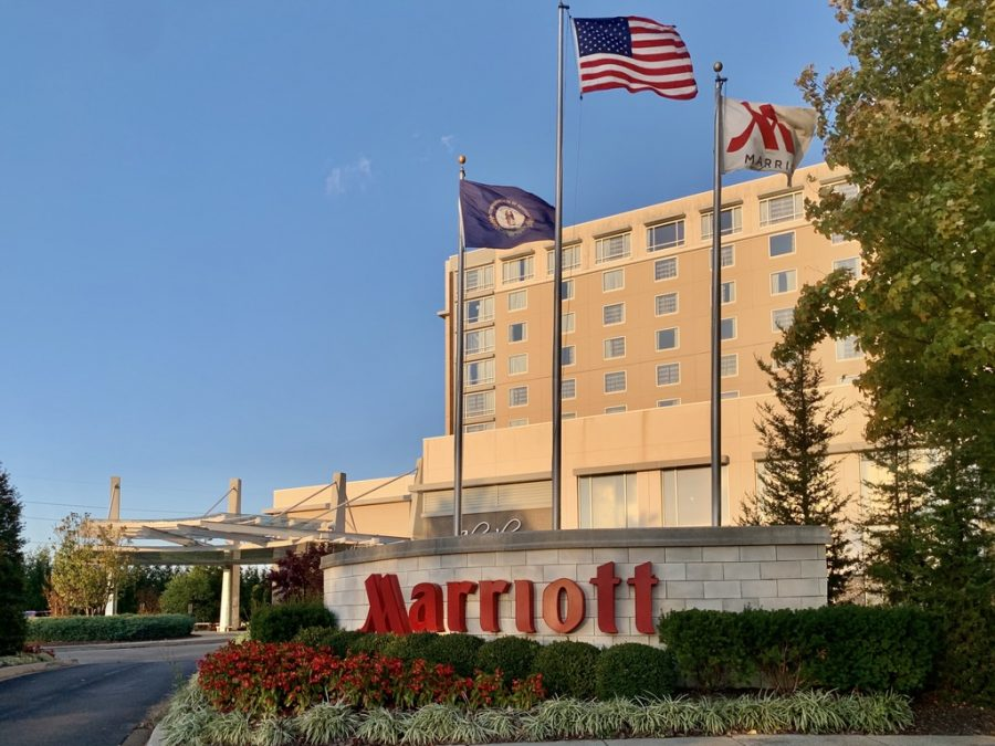 Outside view of Louisville Marriott East, one of the places where Jefferson County residents can place their vote. Photo by Macy Waddle.