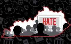A graphic of the state of Kentucky with a presentation being presented. The word HATE is in bold. Graphic by guest contributor, James Jean-Marie.