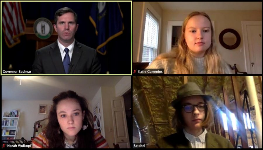 J&C reporters Katie Cummins, Norah Wulkopf and Satchel Walton interview Governor Beshear about DOCJT's nazi training video.