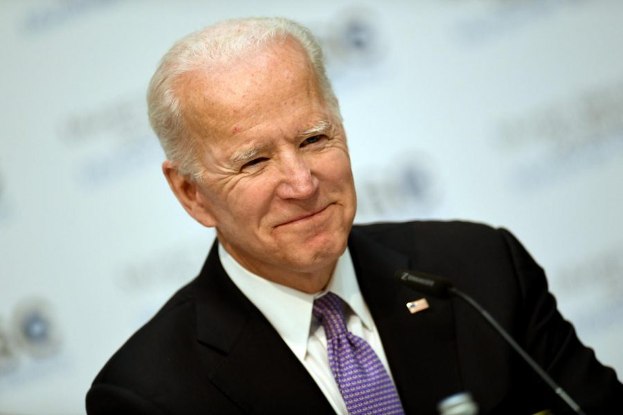 Joe Biden addressing an audience during his 2020 presidential campaign.
