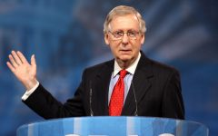 Mitch McConnel speaking to an audience at CPAC