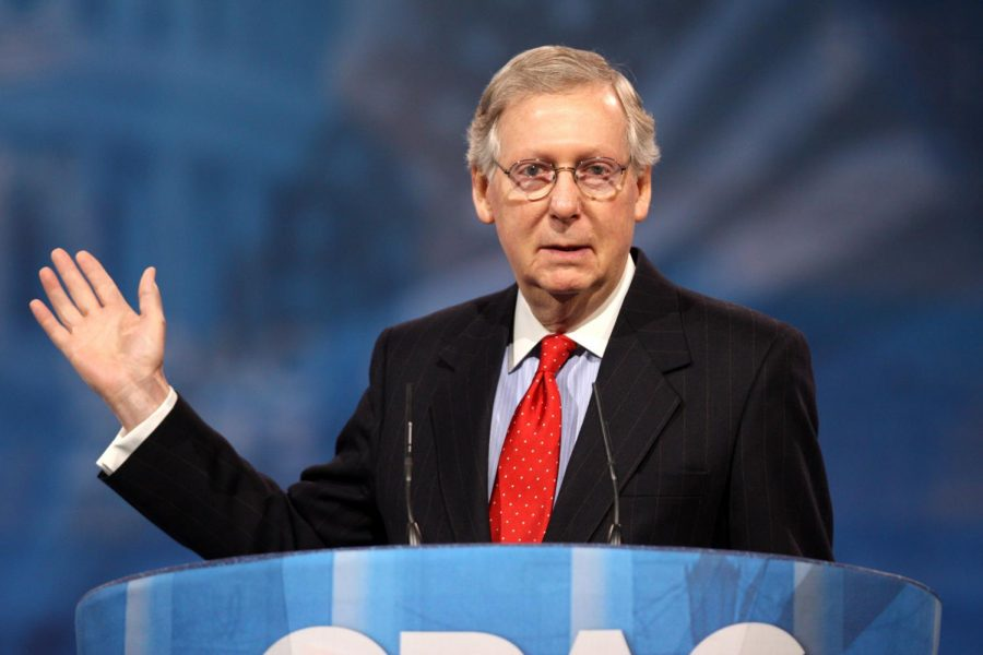 Mitch+McConnel+speaking+to+an+audience+at+CPAC