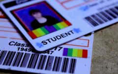 A Pride flag sticker covers a Manual students ID as part of an 2016 initiative by Manual's GSTA. The initiative, whose goal was to let students and teachers show support for LGBTQ students, was ultimately shot down. Photo by Kate Hatter.