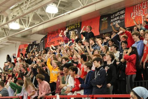Students cheer during the last pep rally of 2020. Photo by Molly Gregory.