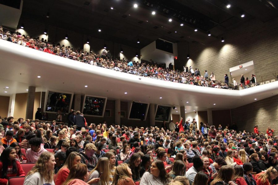 Students gather in the auditorium for the 2020 Black History Month program. Photo by Molly Gregory.