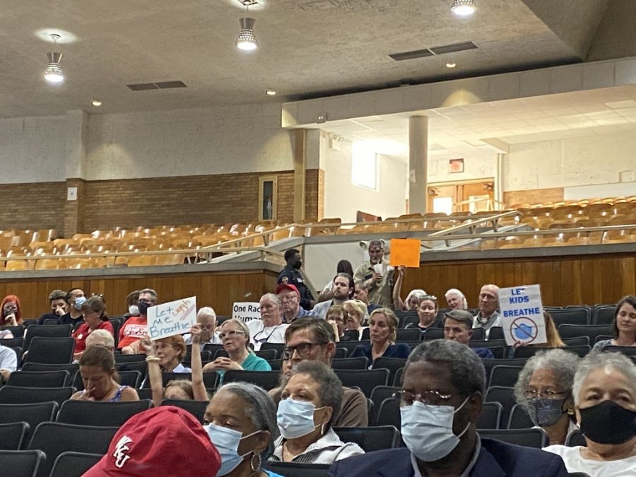 Many citizens showed their support against masking in schools and Critical Race Theory at the Kentucky Board of Education meeting.  Photo by Brennan Eberwine