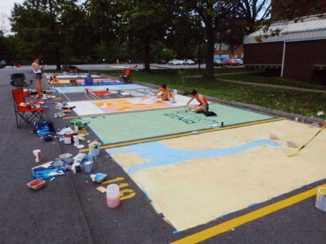 Manual seniors paint parking spots