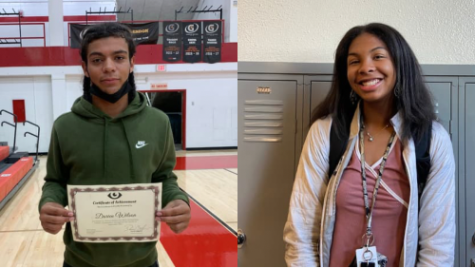 Photo of Darien Wilson (12, HSU) and Nya Bunton (11, HSU) after being selected as athlete of the month. Photo by Macy Waddle and Aliyah Lang